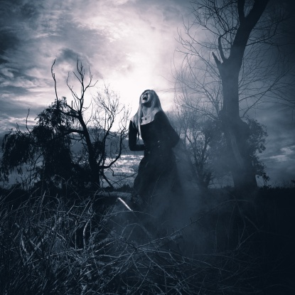 Banshee. Fantasy style portrait of a howling woman